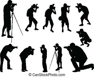 photographers silhouettes collection  - vector