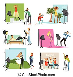 Photographers taking pictures of different people in photo studio with professional photographic equipment vector Illustrations