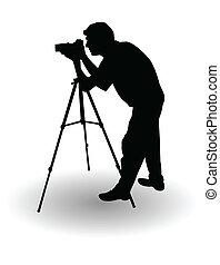 photographer's, vector, silueta