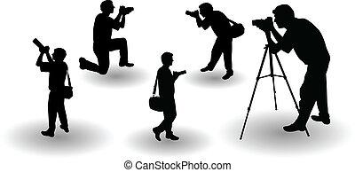 photographer's, vektor, silhouette