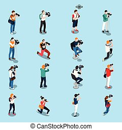 photographes, isométrique, ensemble, cameramans