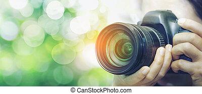 photographes, prendre, photos.