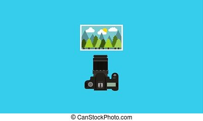 photographic camera and landscape photos icon