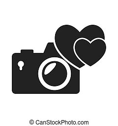 photographic camera device with heart shape icon silhouette....