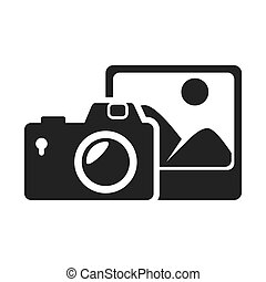 photographic camera device with picture icon silhouette. vector illustration