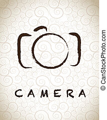 photographic camera drawn freehand over vintage background...