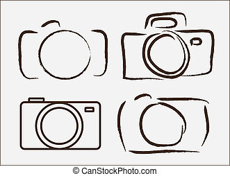 photographic camera drawn freehand over wite background vector illustration