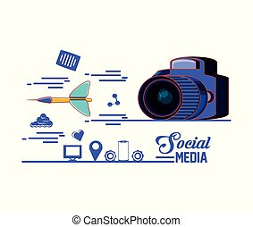 photographic camera with dart and social media set icons