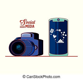 photographic camera with smartphone and social media set icons
