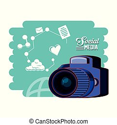 photographic camera with social media set icons