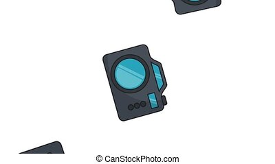 Photographic cameras raining overwhite background High definition colorful animation scenes