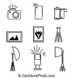 Photographic Equipment Flat Icon Set