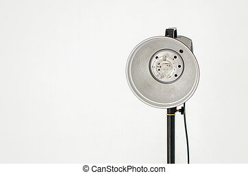 Photographic equipment isolated on gray wall
