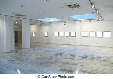 photographic exhibition with blank spaces in the frames