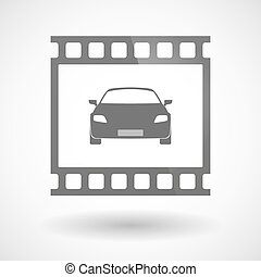 Photographic film icon with a car