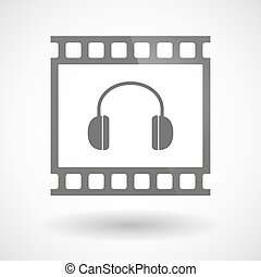 Photographic film icon with a earphones