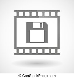 Photographic film icon with a floppy disk