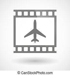 Photographic film icon with a plane