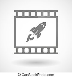 Photographic film icon with a rocket