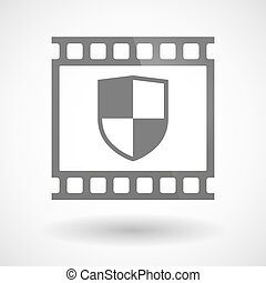 Photographic film icon with a shield