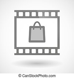 Photographic film icon with a shopping bag