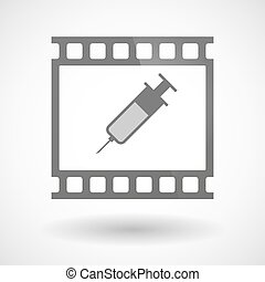 Photographic film icon with a syringe