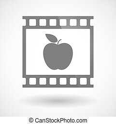 Photographic film icon with an apple