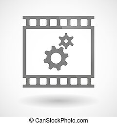 Photographic film icon with two gears