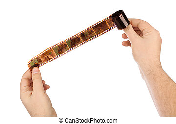 Photographic film in hands