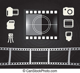 photographic design over black background vector...