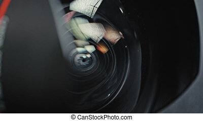Photographic lens close up with aperture blades - Close up ...