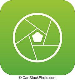 Photographic lens icon digital green