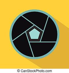 Photographic lens icon, flat style