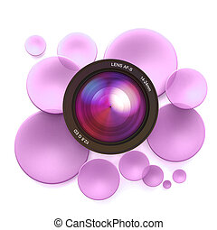 Photographic pink background - Pink disks and a camera lens