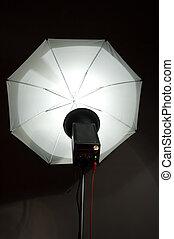 photographic strobe and umbrella
