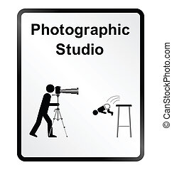 Photographic Studio Information Sig - Monochrome comical...