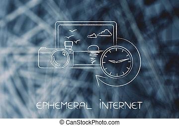photographie, éphémère, horloge, suivant, cameran, internet