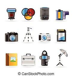 photographie, équipement, icônes