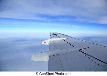 photographie aérienne, avions, fenêtre, aile, vue