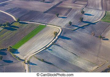 photographie aérienne, de, fields.