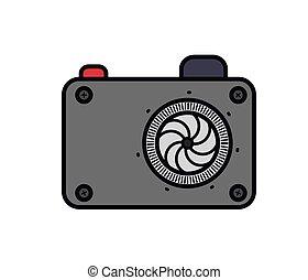 photographie, appareil photo, conception, isolé, icône