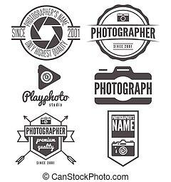 photographie, autocollant, emblème, photographe, logotype, ensemble, studio, logo, impression, étiquette, ou, éléments