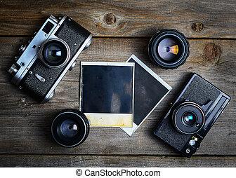 photographie, b, vieux, bois, vendange, cameras, vide, lentilles