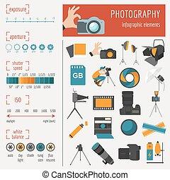 photographie, ensemble, infographics