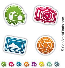 photographie, icônes, ensemble