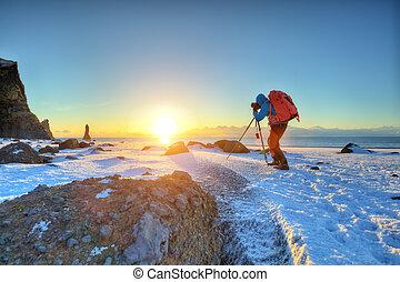 photographie, iceland., jeune, voyageur, confection, homme