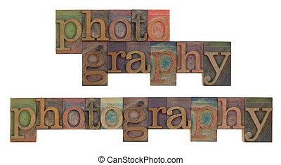photographie, in, weinlese, leeterpress