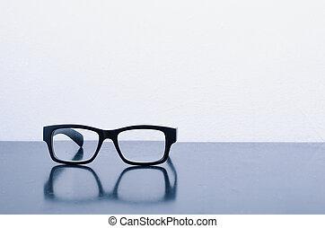photographie, lunettes, cadre, mat, noir, conceptuel, vie