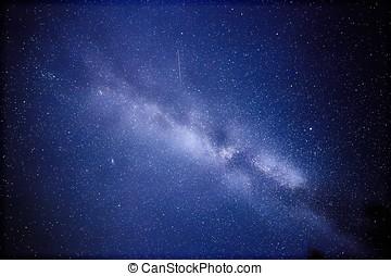 photographie, nébuleuse, satellite., ceci, cygnus, astronomique, finlande, long, milieu, manière, nuit, pris, exposition, laiteux