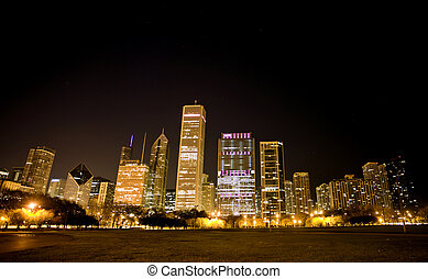 photographie, nuit, chicago